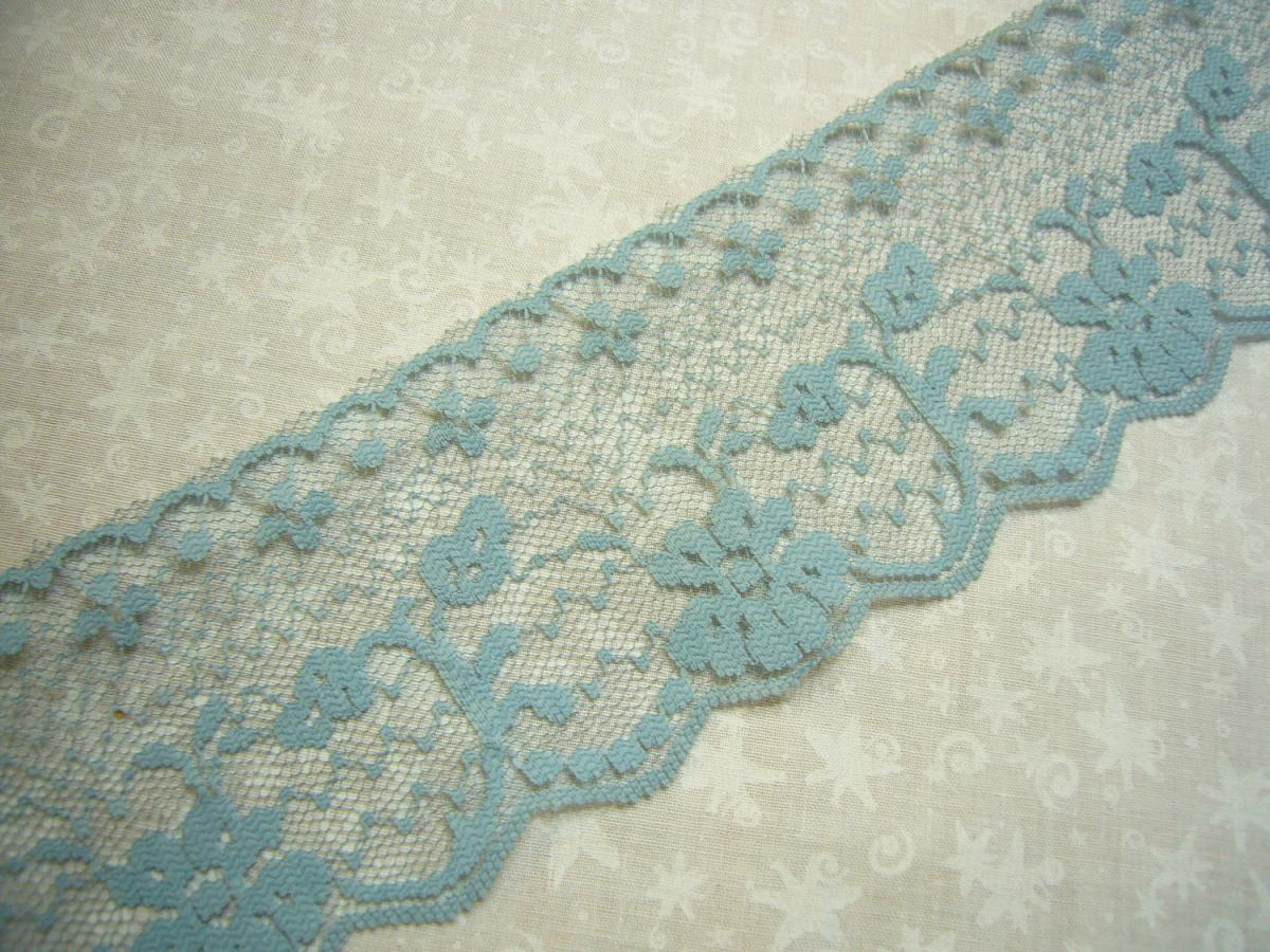 1 yard of 2 1/2 inch Antique Blue chantilly lace trim for sewing, crafts, costume, valentines, spring, couture by Marlenes - Item EJ