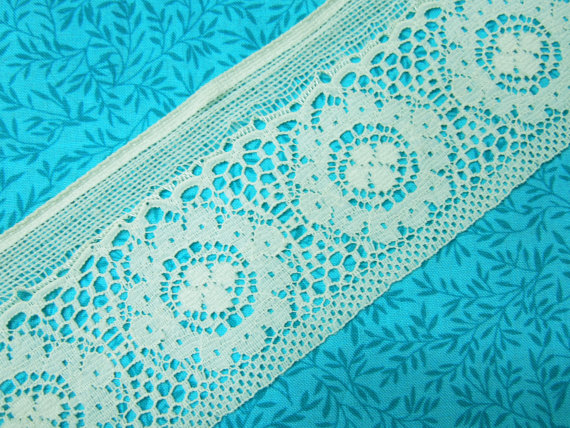 1 yard of 2 inch Ivory Cluny look, flat chantilly galloon lace trim for bridal, baby, veils, costume by MarlenesAttic - Item VA