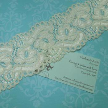 1 yard of 3 inch Ivory Stretch elastic lace for bridal, baby headband, lingerie, garter, hair acc by MarlenesAttic - Item EE5