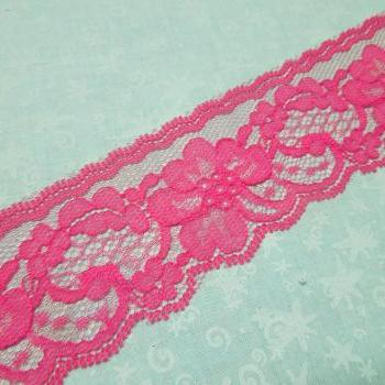 1 yard of 2 inch Hot Pink Chantilly lace trim for bridal, baby, wedding, valentines, romantic, couture by MarlenesAttic - Item N0